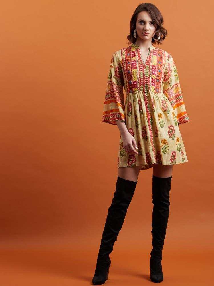 Beige Floral Print Short Dress