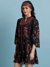 Black Printed Short Dress