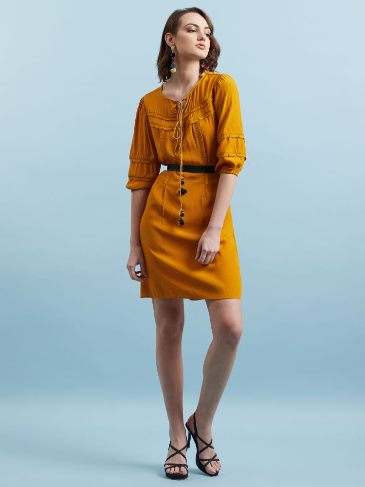 Mustard Yellow Crepe Short Dress