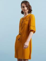 Mustard Yellow Crepe Short Dress
