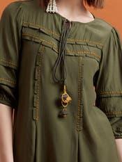 Olive Green Crepe Short Dress