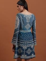 Blue Printed Crepe Short Dress