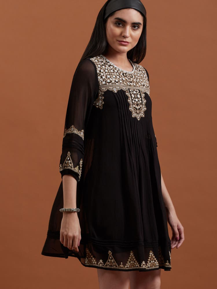 Black Embroidered Short Dress