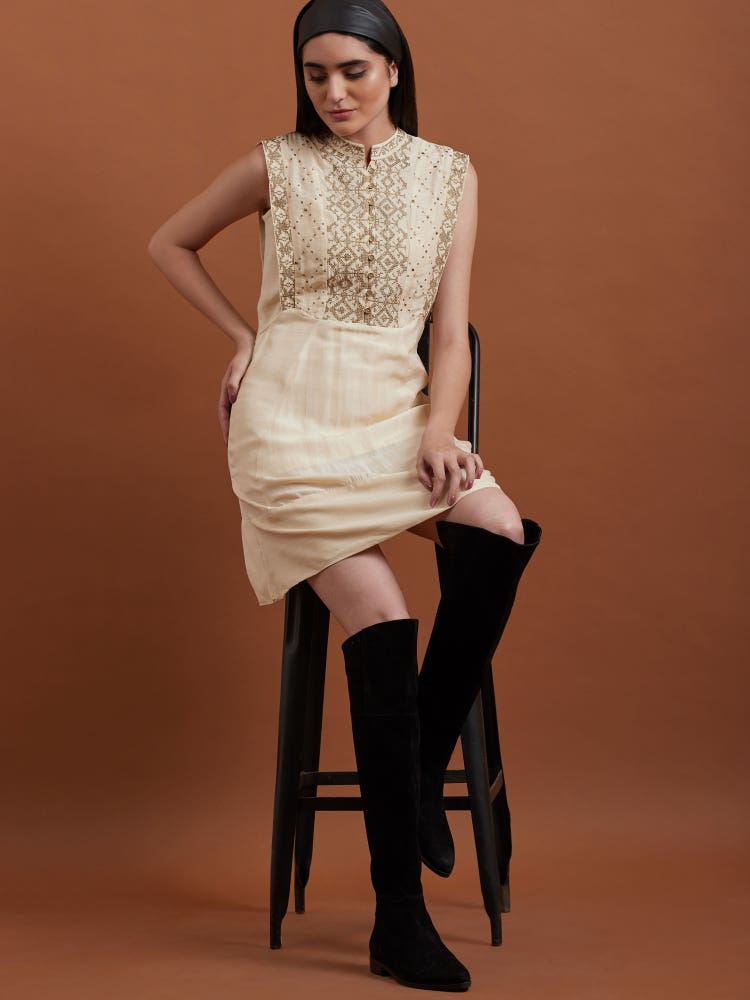 Off White Embroidered Short Dress