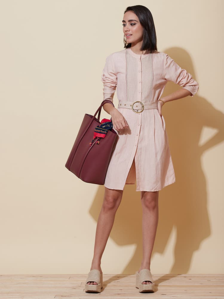 Soft Pink Solid Shirt Dress