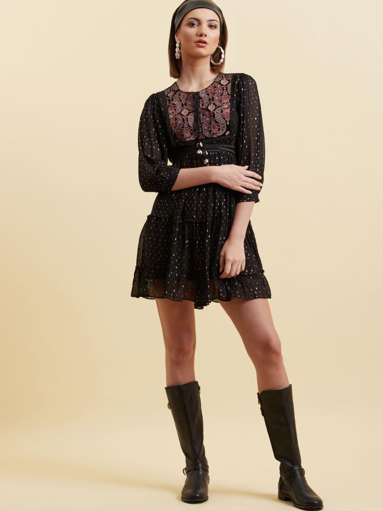 Black Lurex Short Dress