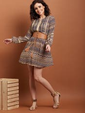 Beige Printed Short Dress
