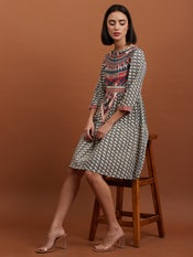 Off White Abstract Print Dress