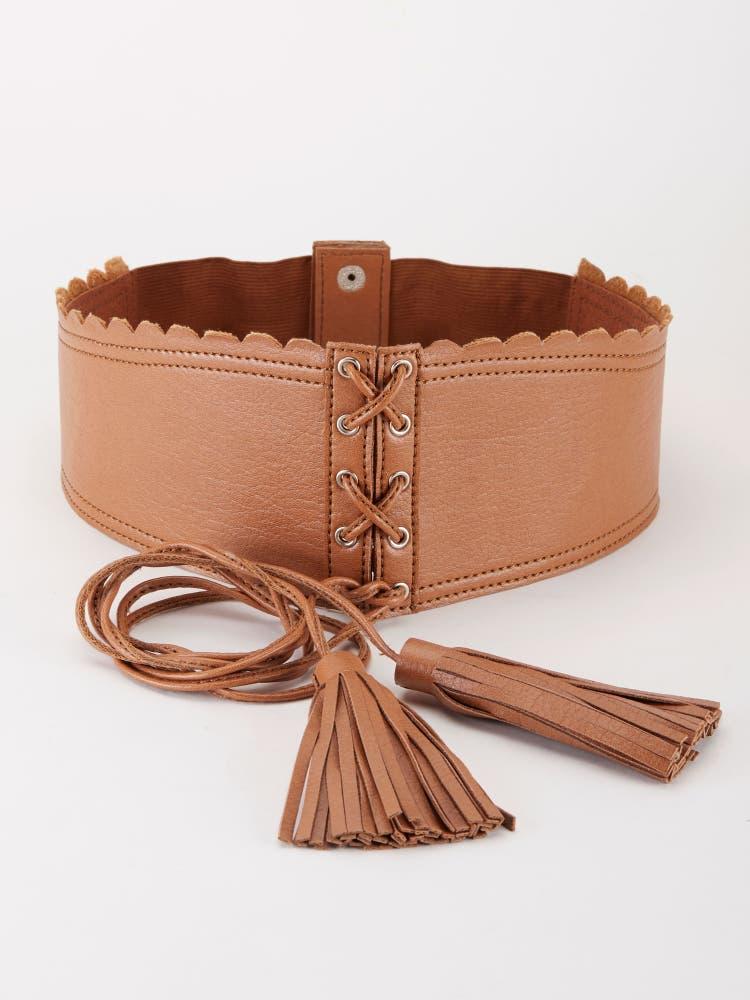 Tan Tie-Up Corset Belt