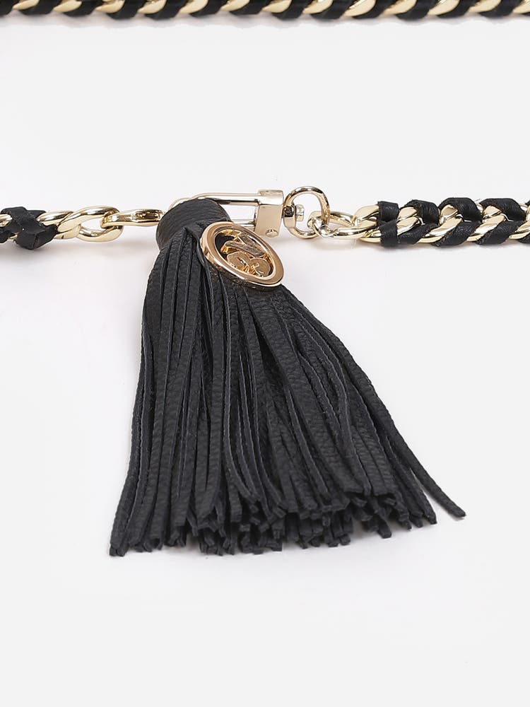 Black Leather Belt with Chain Links
