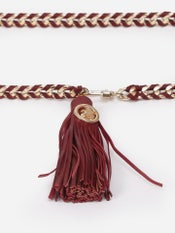 Burgundy Leather Belt with Chain Links
