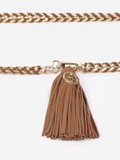 Tan Leather Belt with Chain Links