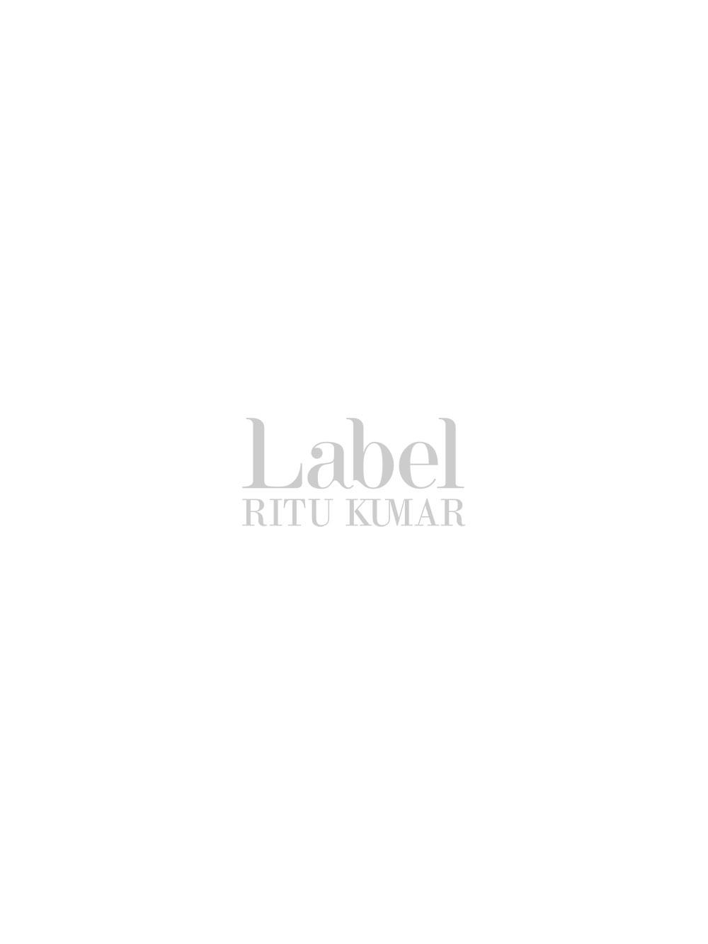 Designer Off White Short Dress in Gold Embroidered