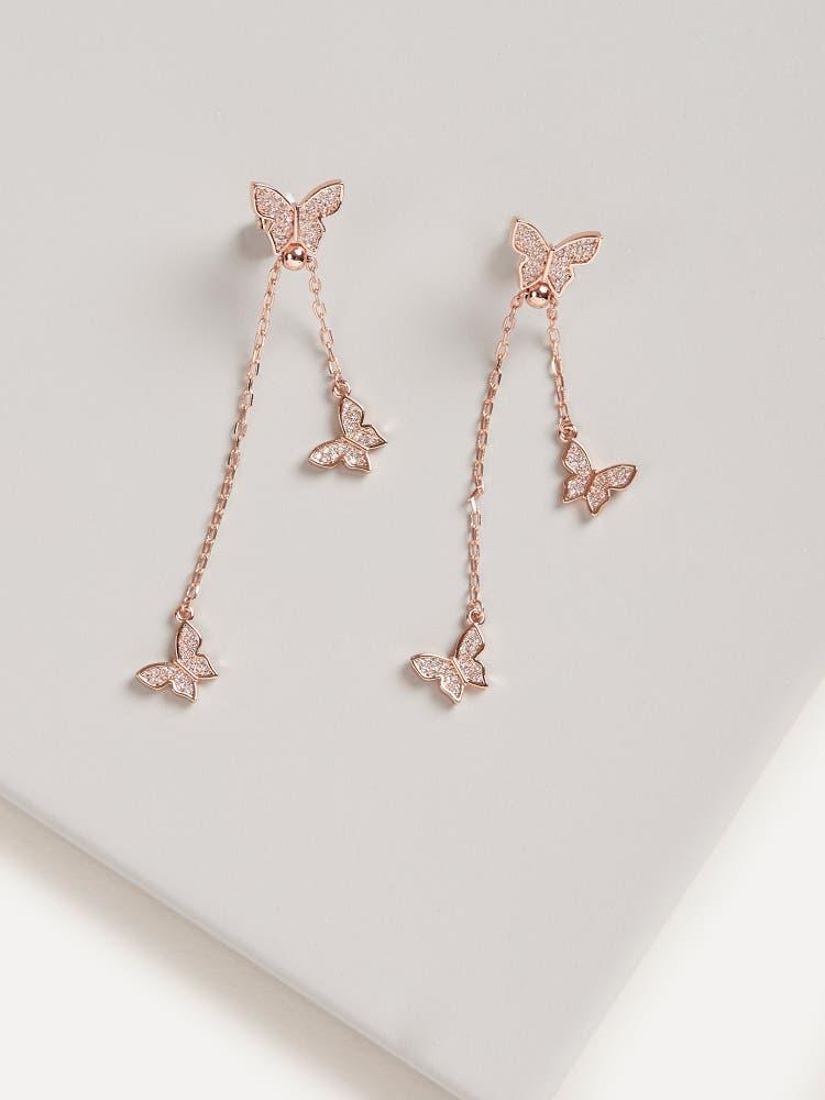 Rose Gold Cubic Zirconia Butterfly Earrings