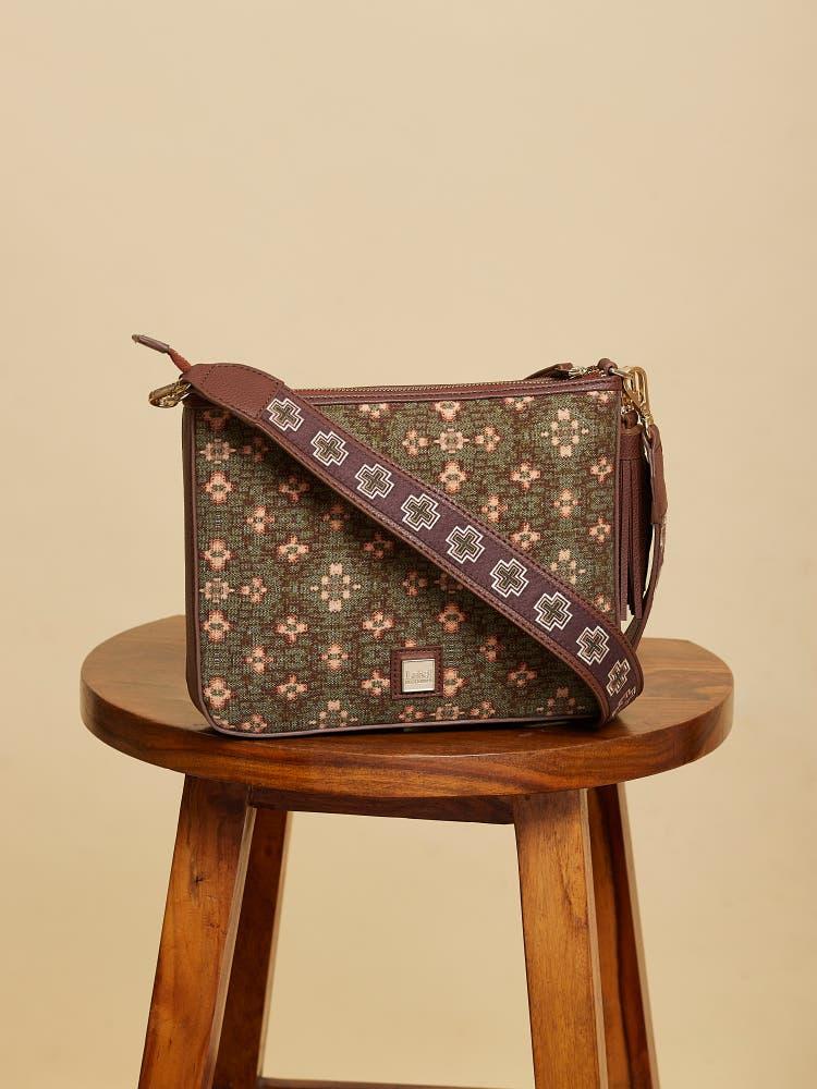 Green Printed Sling  Bag