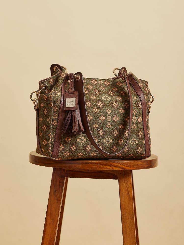 Green Printed Tote Bag