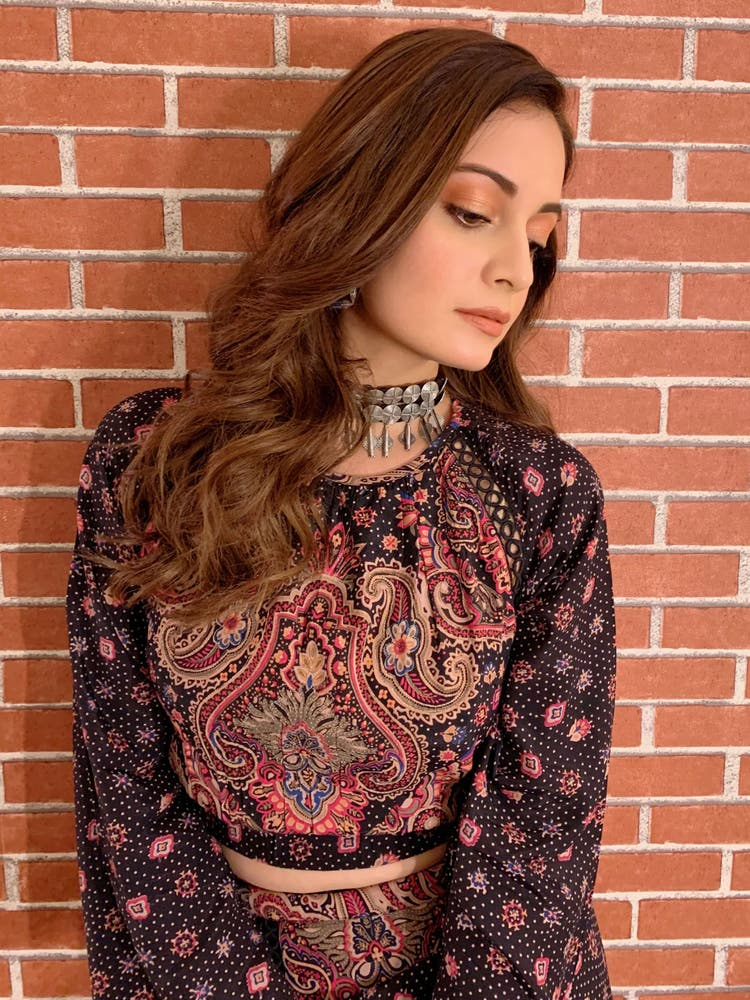 Dia Mirza in a Black Paisley Crop Top