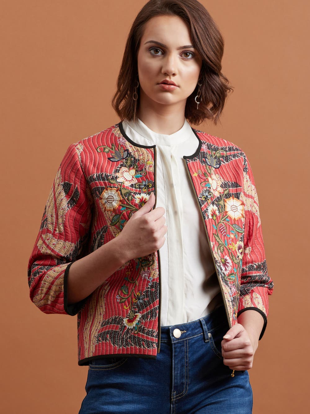 Red Floral Quilted Jacket