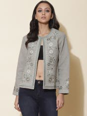 Sea Green Floral Embroidered Jacket