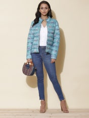 Aqua Floral Print Puffer Jacket