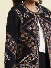 Black Textured with Geometric Print Jacket