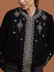 Black Embroidered Bomber Jacket