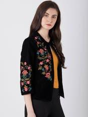 Ebony Black & Rose Floral Jacket
