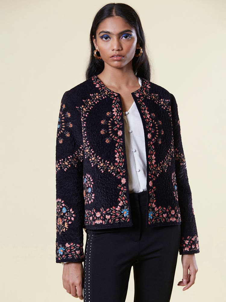 Navy Blue Floral Velvet Jacket