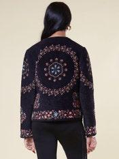Navy Blue Floral Velvet Jacket