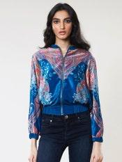 Turquoise Velvet Bomber Jacket