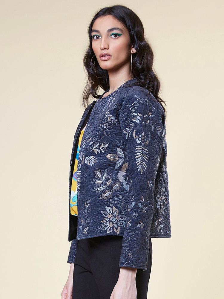 Blue Floral Velvet Jacket