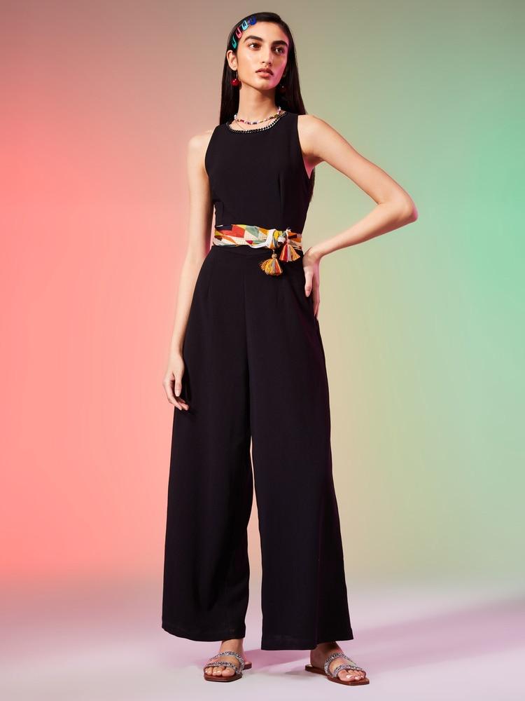 Black Embellished Crepe Jumpsuit
