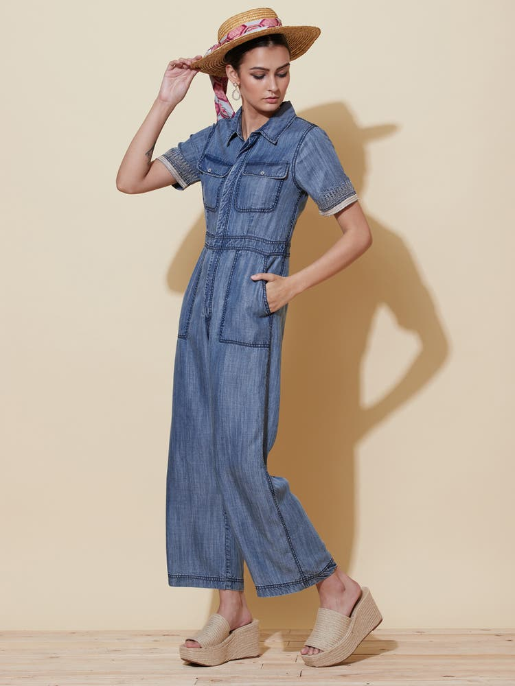 Denim Blue Shirt Jumpsuit