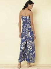 Blue Floral Off Shoulder Jumpsuit