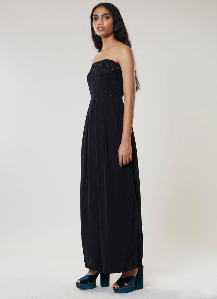 Black Embroidered Off-the Shoulder Jumpsuit