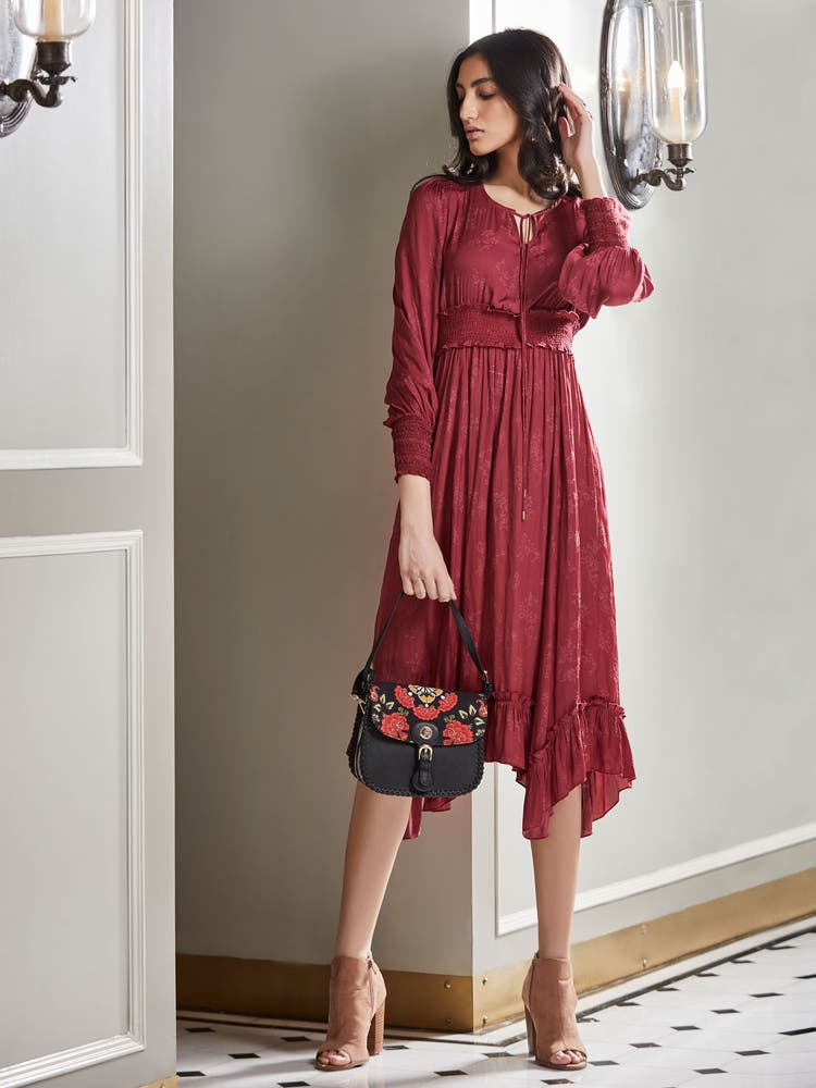 Berry Red Midi Dress