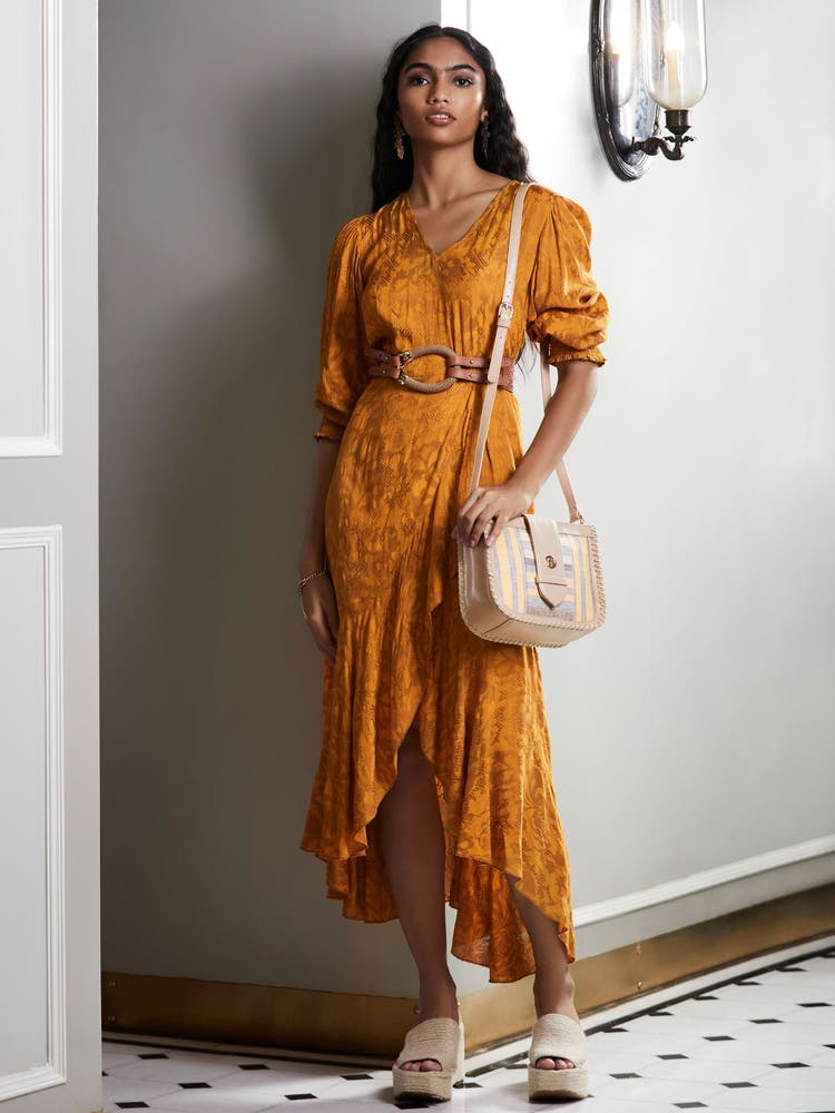 Mustard Yellow Ruffle Midi Dress