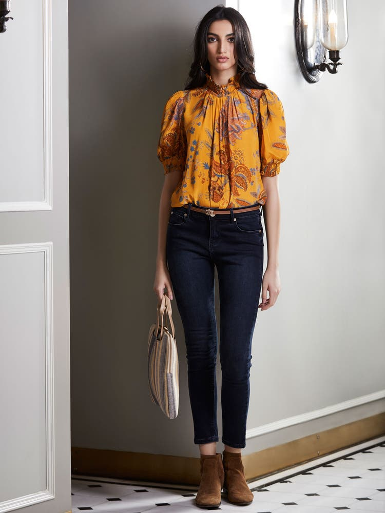 Mustard Yellow Floral Print Top