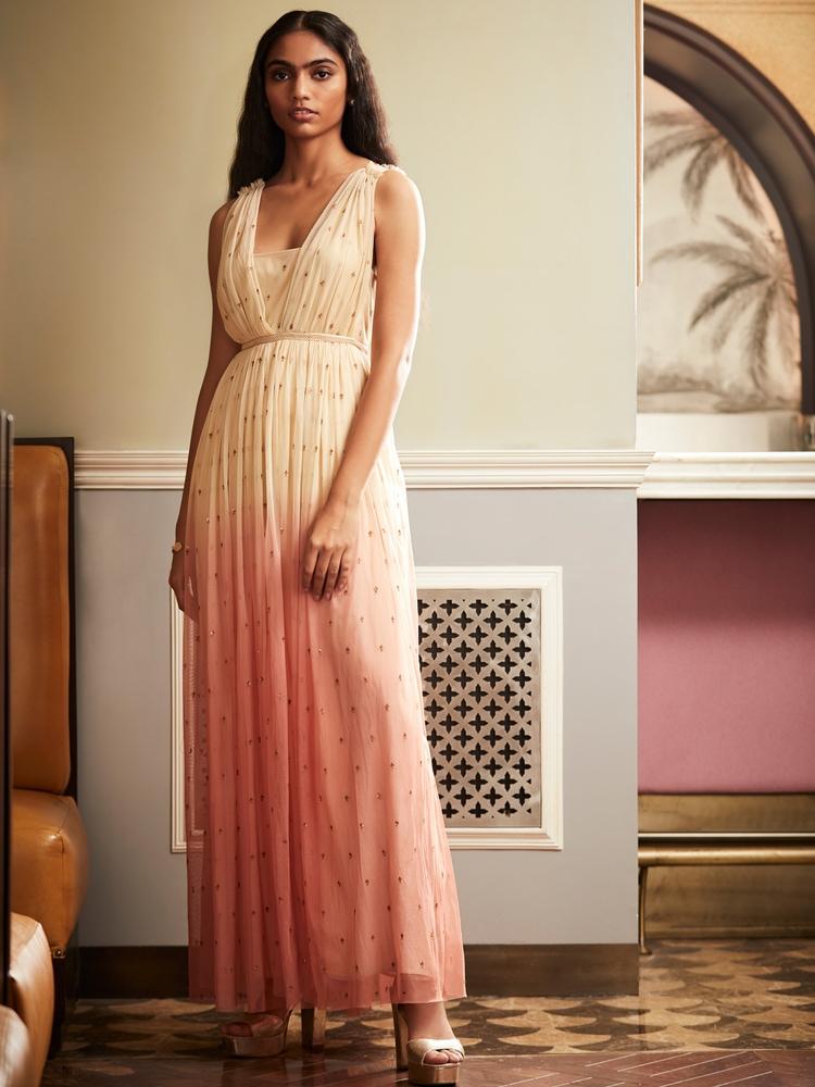 Beige & Pink Maxi Dress