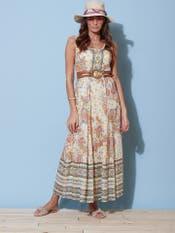 Ecru Printed Long Dress