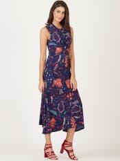 Navy Blue Printed Jersey Knot Dress