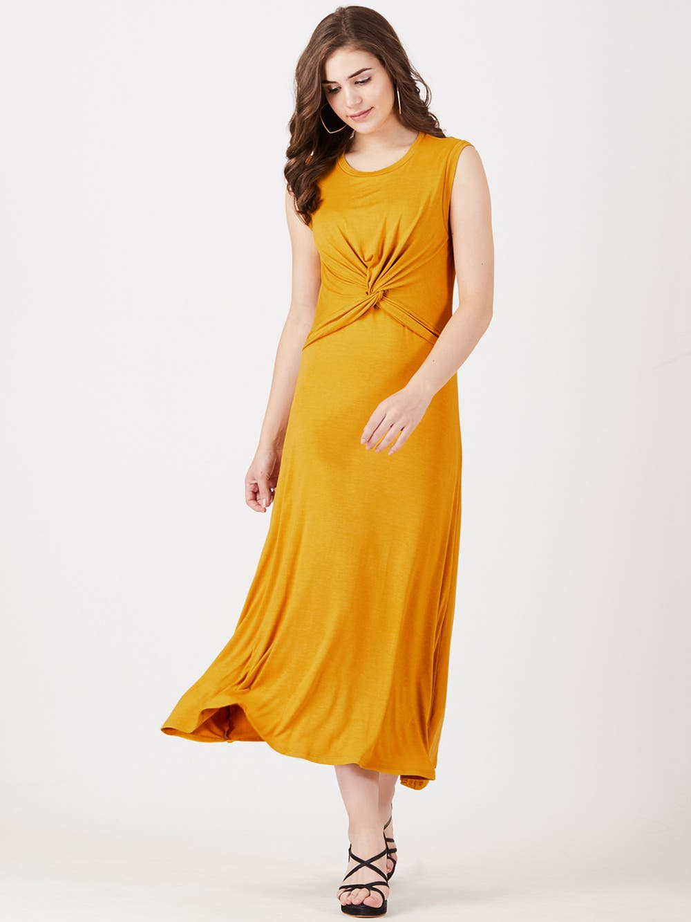 Mustard Yellow Knotted Long Dress