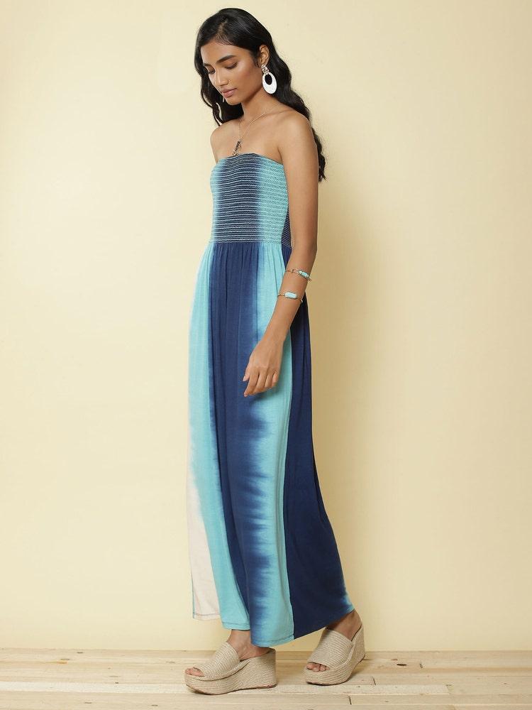 Off White & Blue Ombre Off Shoulder Dress