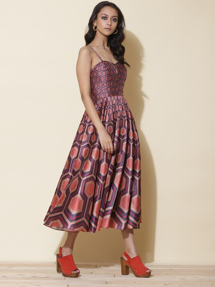 Purple Printed Corset Long Dress