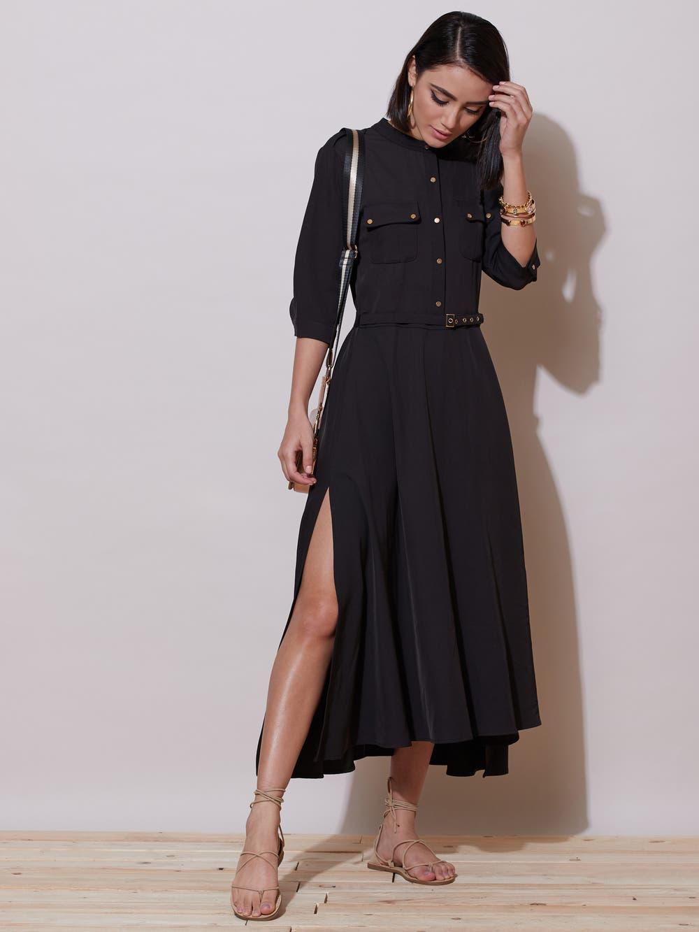 Black Tie-Up Shirt Dress