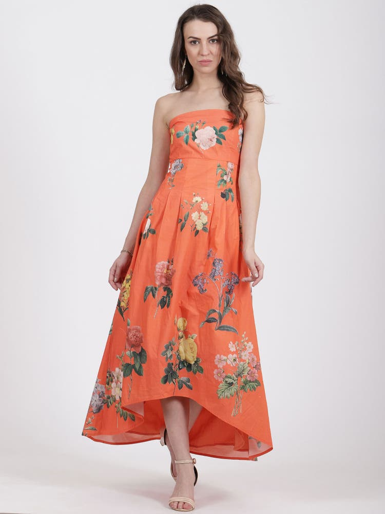 Coral Floral Print Off-Shoulder Dress