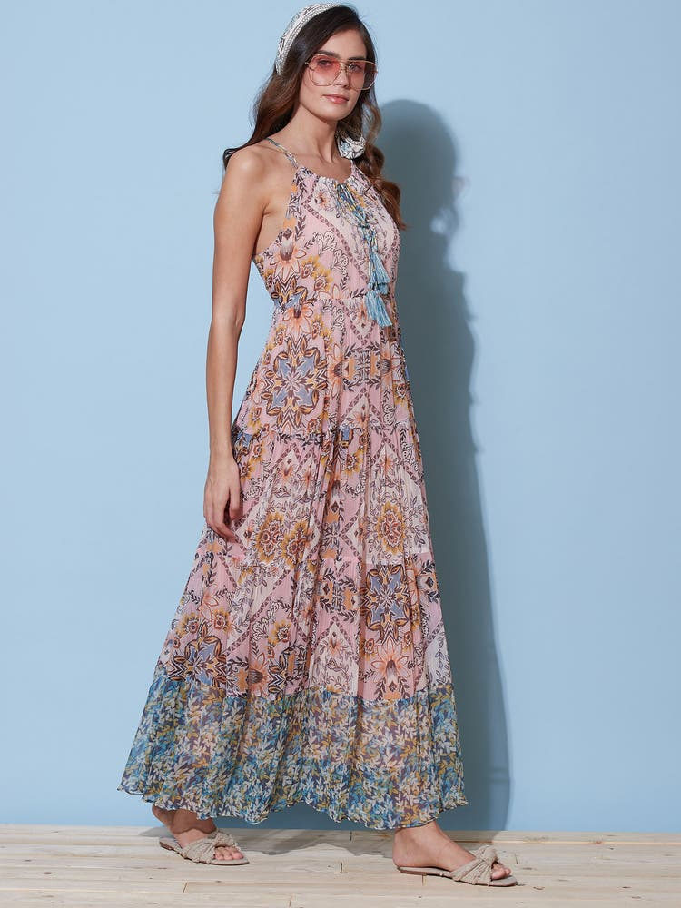 Pink Printed Long Dress