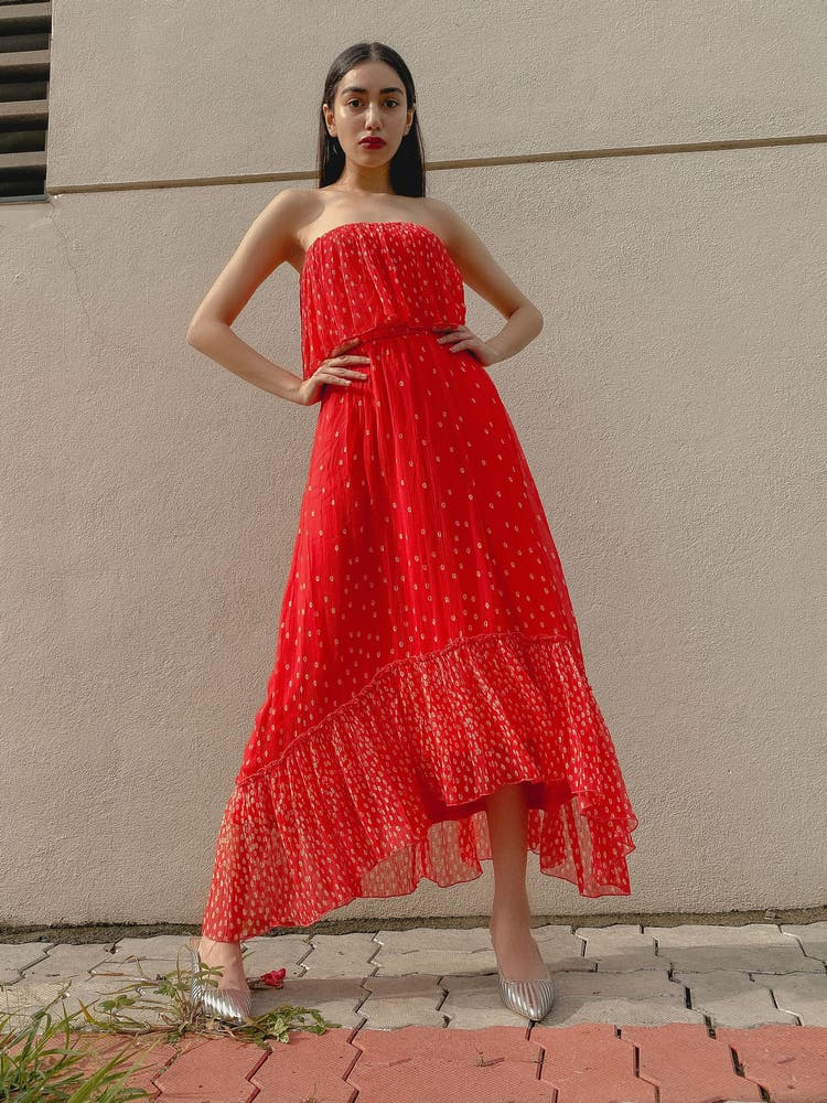 Coral Ruffle Strapless Dress
