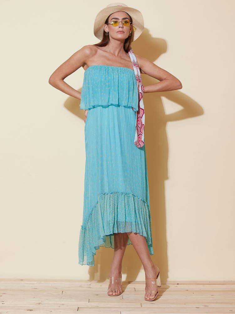 Turquoise Ruffle Strapless Dress