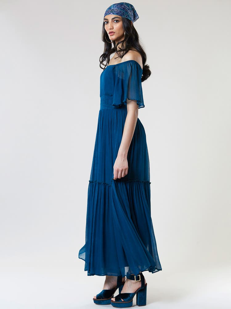 Teal Blue Off-Shoulder Long Dress